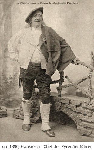 sw Foto: Chef der Pyrenäenführer Père Lanusse ~1890, Frankreich