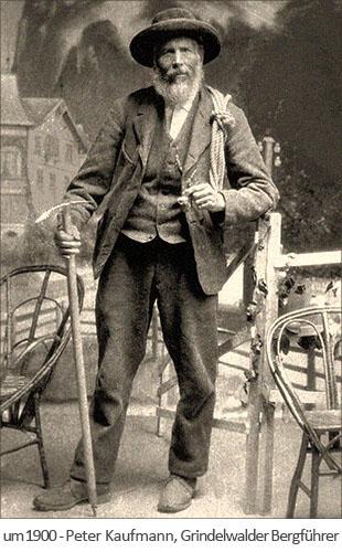 sw Foto: der Grindelwalder Bergführer Peter Kaufmann ~1900, Schweiz