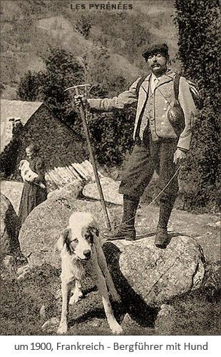 sw Foto: Bergführer mit Hund ~1900, Frankreich