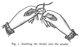 sw-Zeichnung. Hände fädeln Faden in Nadel ein
