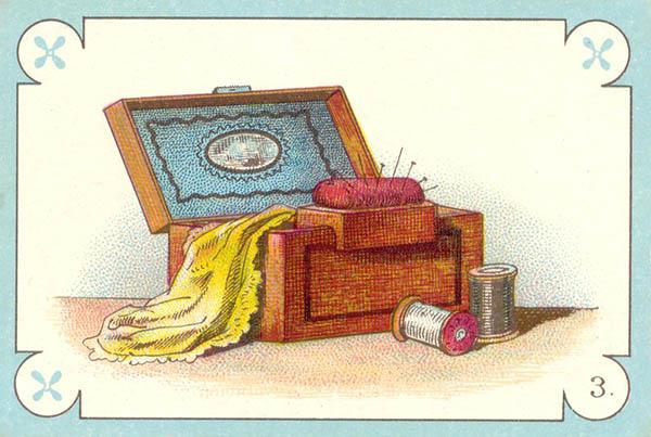 farbige Illustration: Nähkasten mit Zubehör