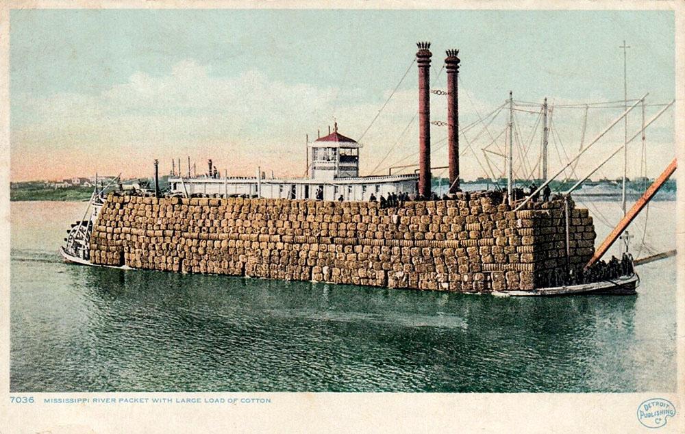 riesige Schiffsladung mit Baumwollballen