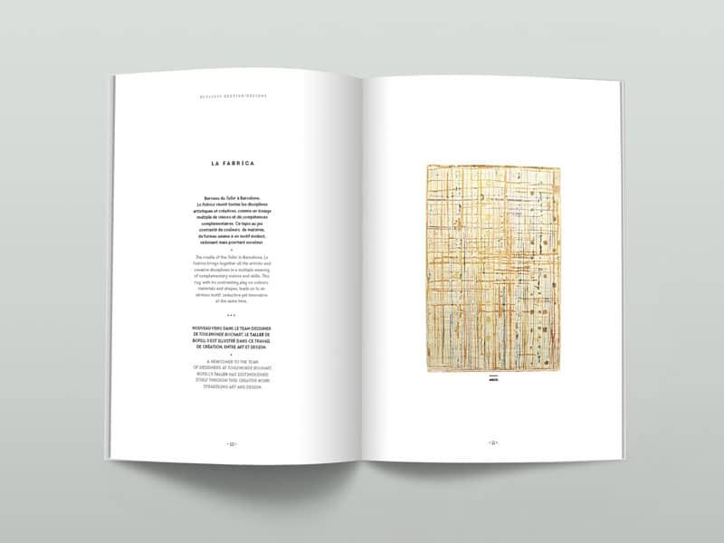 Double page intérieure du catalogue Exclusiv de Toulemonde Bochart 2017. Béryl, design graphique.