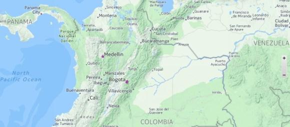 Kaart Colombia