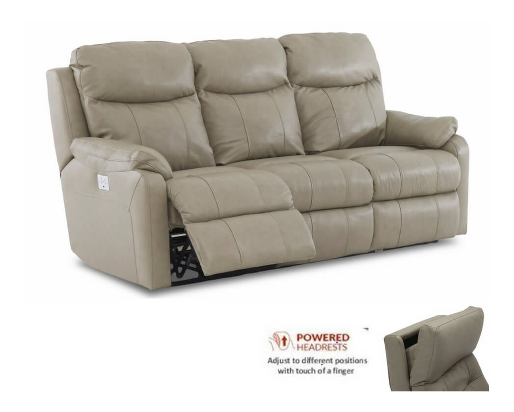 Power Headrest Leather Reclining Sofa Usb Be Seated