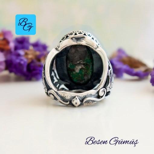 Oval Doğal Firuze Taşı (Turkuaz) Gümüş Yüzük