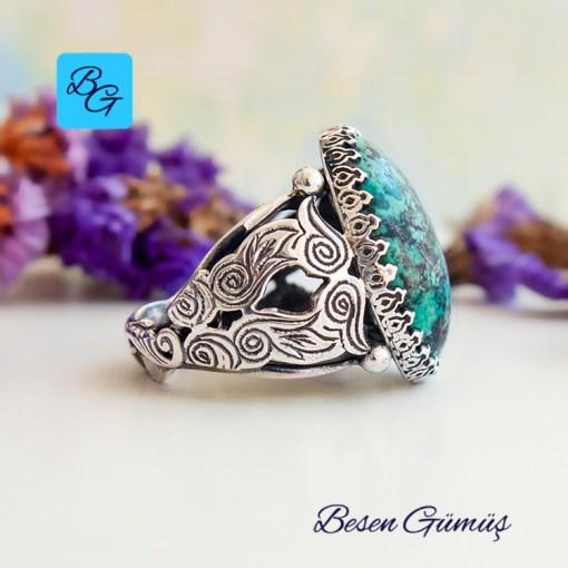 Oval Doğal Firuze Taşı (Turkuaz) Gümüş Erkek Yüzük