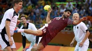 2016 Rio Olympics - Handball - Quarterfinal - Men's Quarterfinal Germany v Qatar - Future Arena - Rio de Janeiro, Brazil - 17/08/2016. Kamalaldin Mallash (QAT) of Qatar in action. REUTERS/Marko Djurica FOR EDITORIAL USE ONLY. NOT FOR SALE FOR MARKETING OR ADVERTISING CAMPAIGNS.