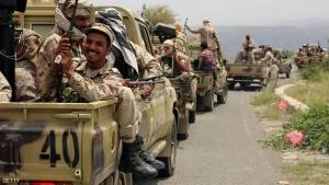 Yemeni fighters loyal to President Abedrabbo Mansour Hadi drive in convoy in the Yafa area some 180 kilometres north of the port city of Aden on August 9, 2016.  Government forces are struggling to assert control on southern parts of the country they have recaptured from Shiite Huthi rebels and allied forces loyal to former president Ali Abdullah Saleh since last year as Al-Qaeda and Islamic State group militants exploited the conflict to expand in these zones.  / AFP / NABIL HASSAN        (Photo credit should read NABIL HASSAN/AFP/Getty Images)