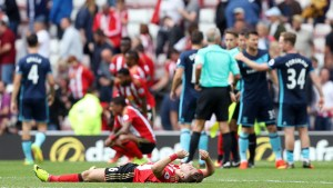 """Britain Soccer Football - Sunderland v Middlesbrough - Premier League - Stadium of Light - 21/8/16 Sunderland's Lynden Gooch looks dejected after the game  Reuters / Russell Cheyne Livepic EDITORIAL USE ONLY. No use with unauthorized audio, video, data, fixture lists, club/league logos or """"live"""" services. Online in-match use limited to 45 images, no video emulation. No use in betting, games or single club/league/player publications.  Please contact your account representative for further details."""