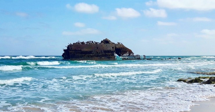 A Spanish wreck on paradise beach visiting the awesome Boa Vista in Cabo Verde
