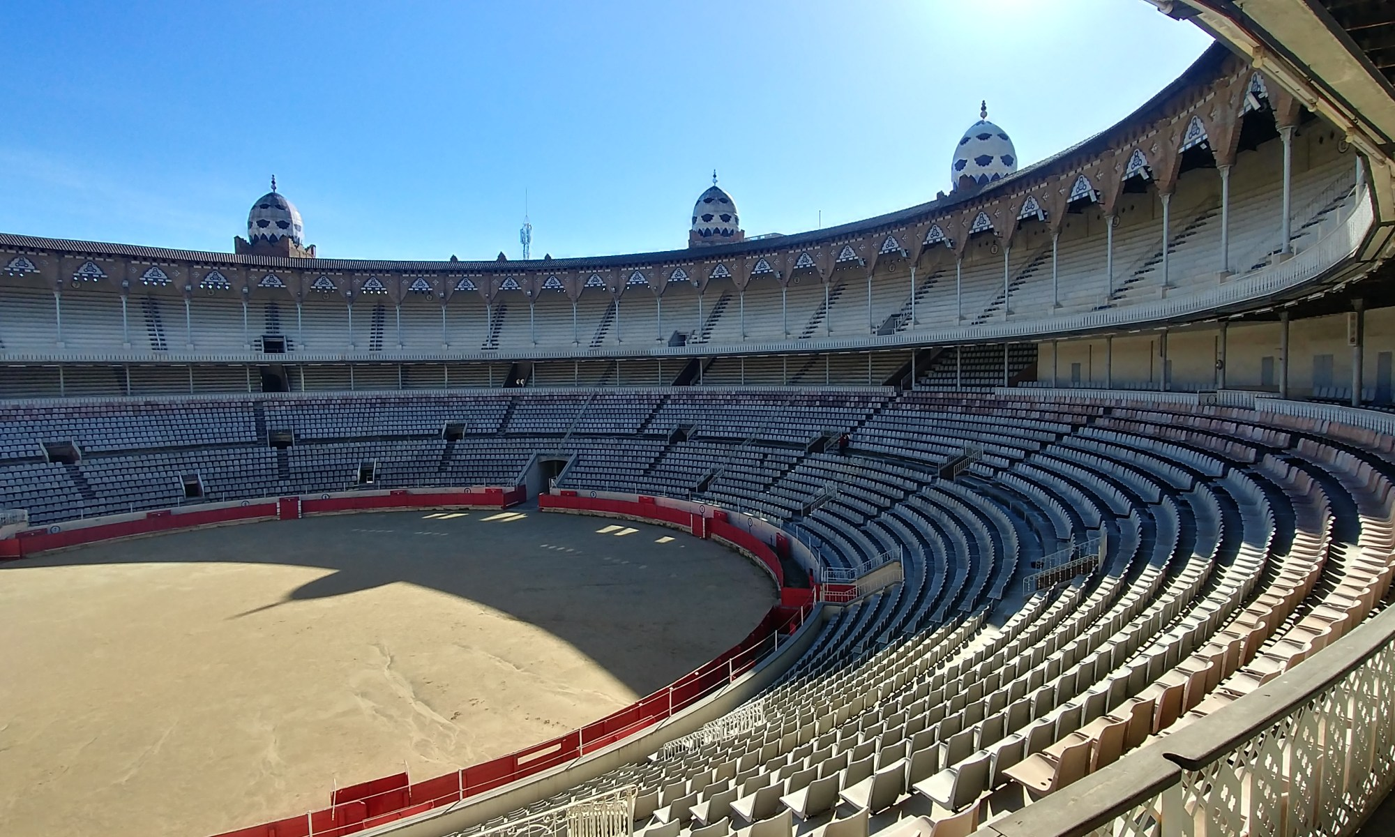 Barcelona, Spain – February 5, 2020: Arena and bullfighting ring bleachers in La Monumental.