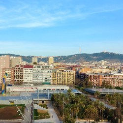 Barcelona, Spain – February 3, 2020: Joan Miró Park from Las Arenas de Barcelona Shopping Mall (old bullfighting ring) rooftop.