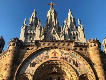 Barcelona, Spain – December 31, 2019: Front gate of Tibidabo Basilica. Temple Expiatori del Sagrat Cor de Jesús.