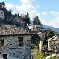 Gyrokaster, Albania – March 25, 2016: Old houses at sunset in Gyrokaster, Albania.
