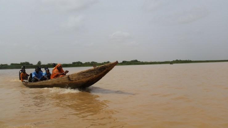 Crossing a river in Senegal