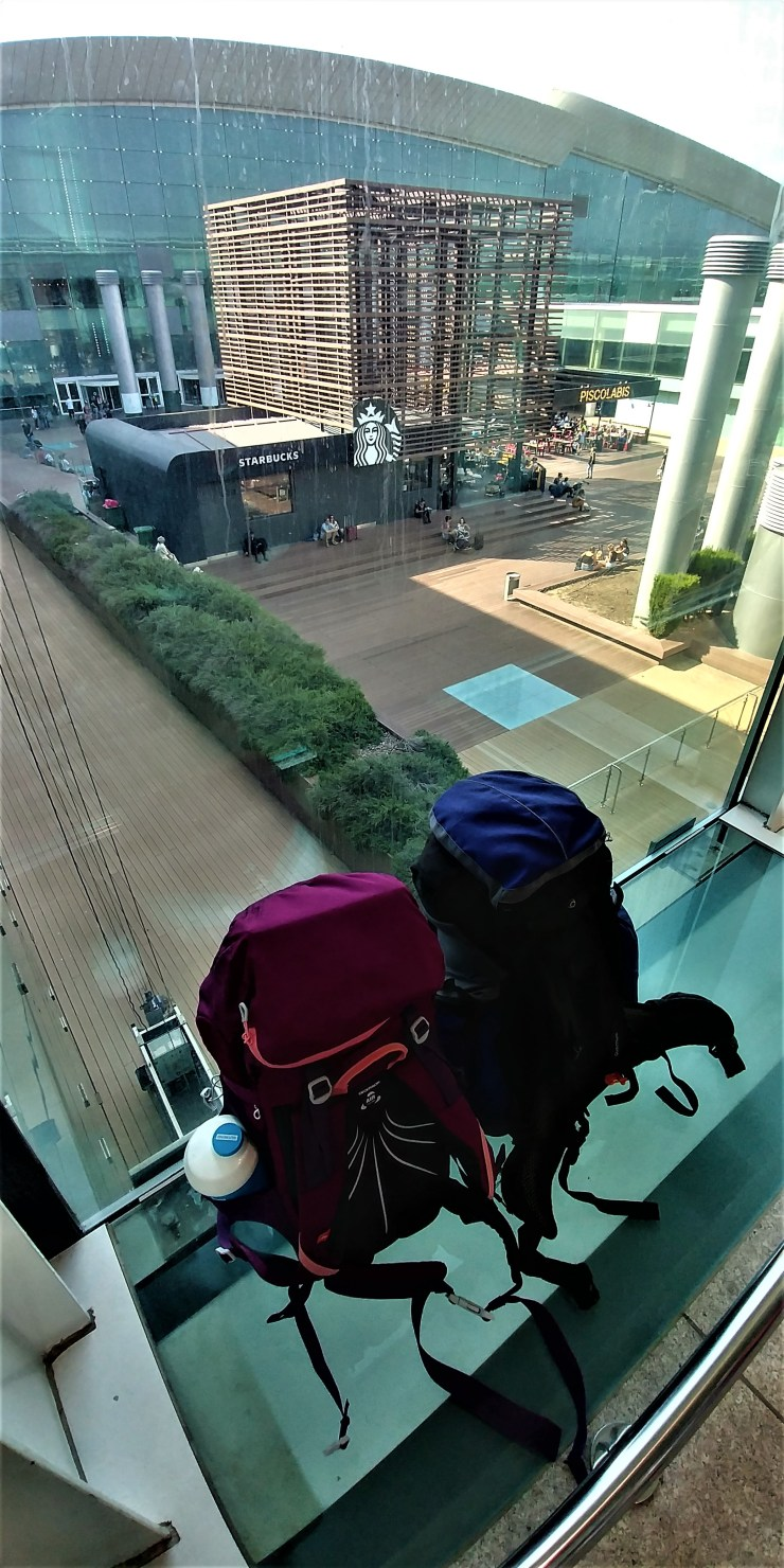 Backpacks in T1 Barcelona Airport