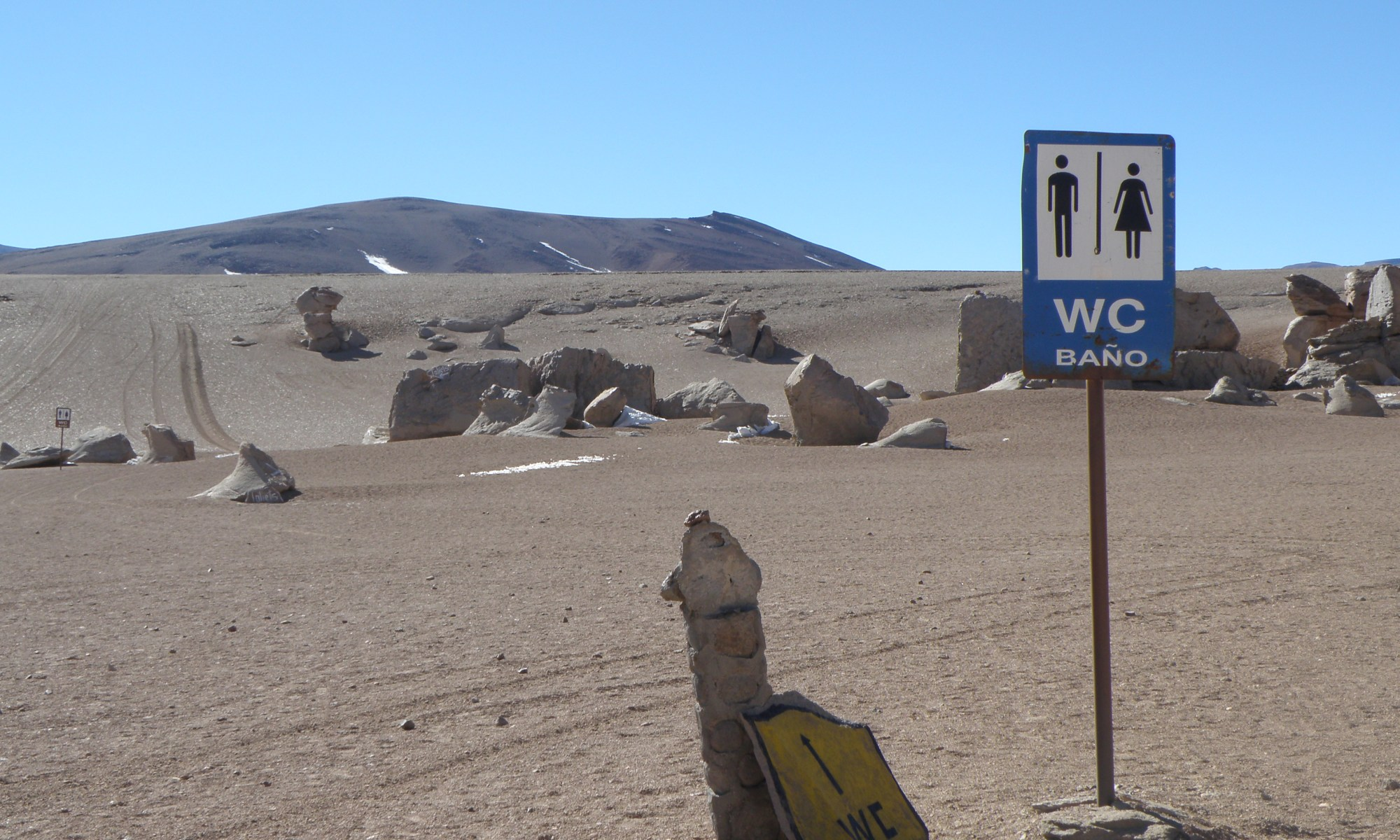 Toilet sign in Atacama Desert, Chile