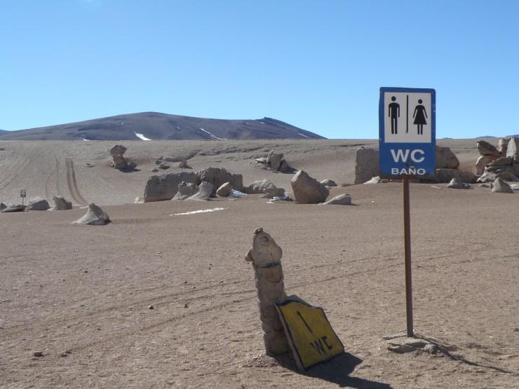 Toilet sign in Atacama Desert, Chile