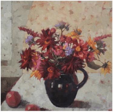 'August Flowers', oil on linen, 40 x 40 cm, Anne-Marie Butlin