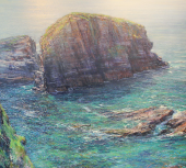 'Porthcothan Cliffs', oil on canvas, 110 x 120cm, Paul Lewin