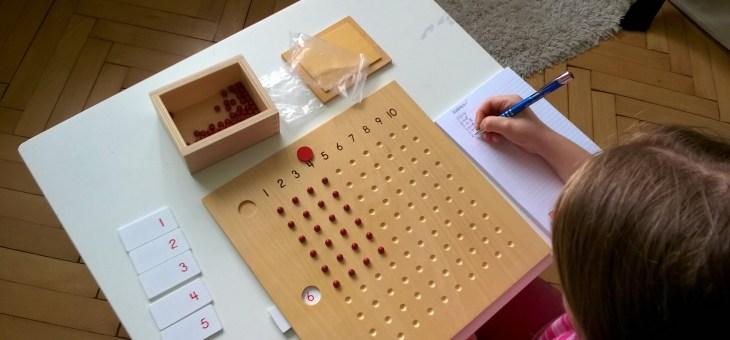 Montessori tabulka pro násobení