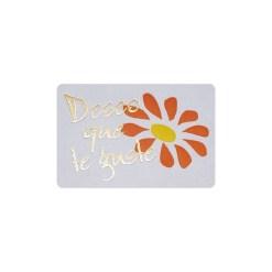 Etiqueta adhesiva deseo que te guste con margarita
