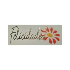 Etiqueta adhesiva, pegatina Felicidades y margarita sobre papel vainilla de 18x47 mm