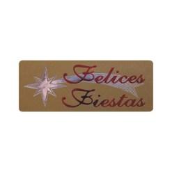 Pegatina Felices Fiestas y estrella sobre oro mate de 18x46 mm