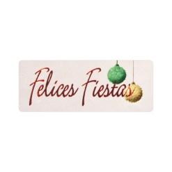 Pegatina Felices Fiestas y bolas de navidad sobre blanco brillo de 18x46 mm