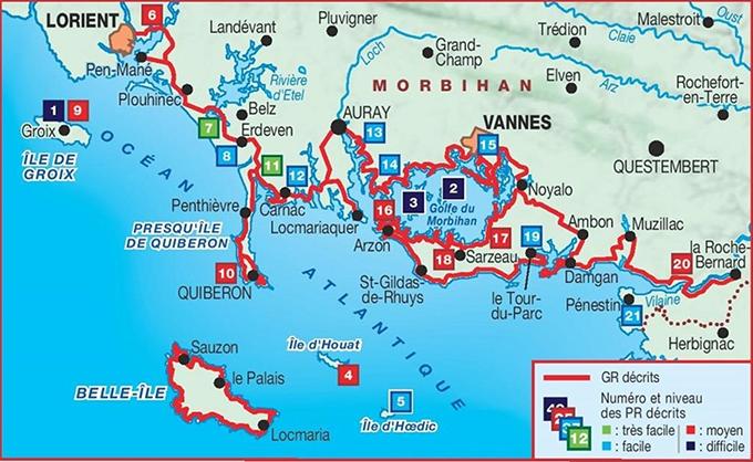 Carte GR 34 tour de bretagne Morbihan Lorient Tour du Parc