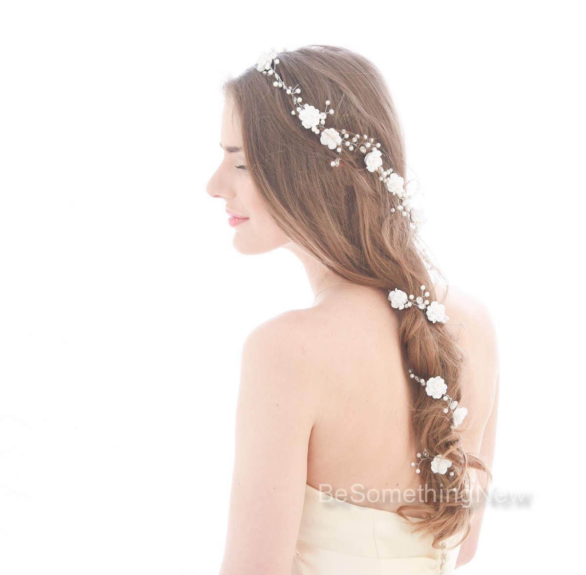 Long Wedding Hair Vine Beaded Wedding Headpiece With