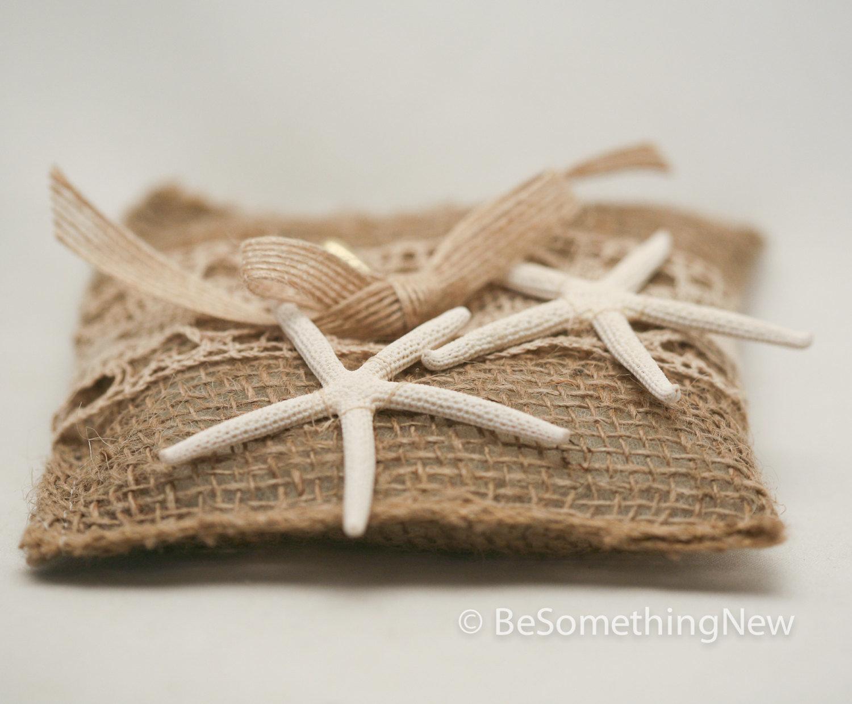 starfish ring bearer pillow in rustic burlap