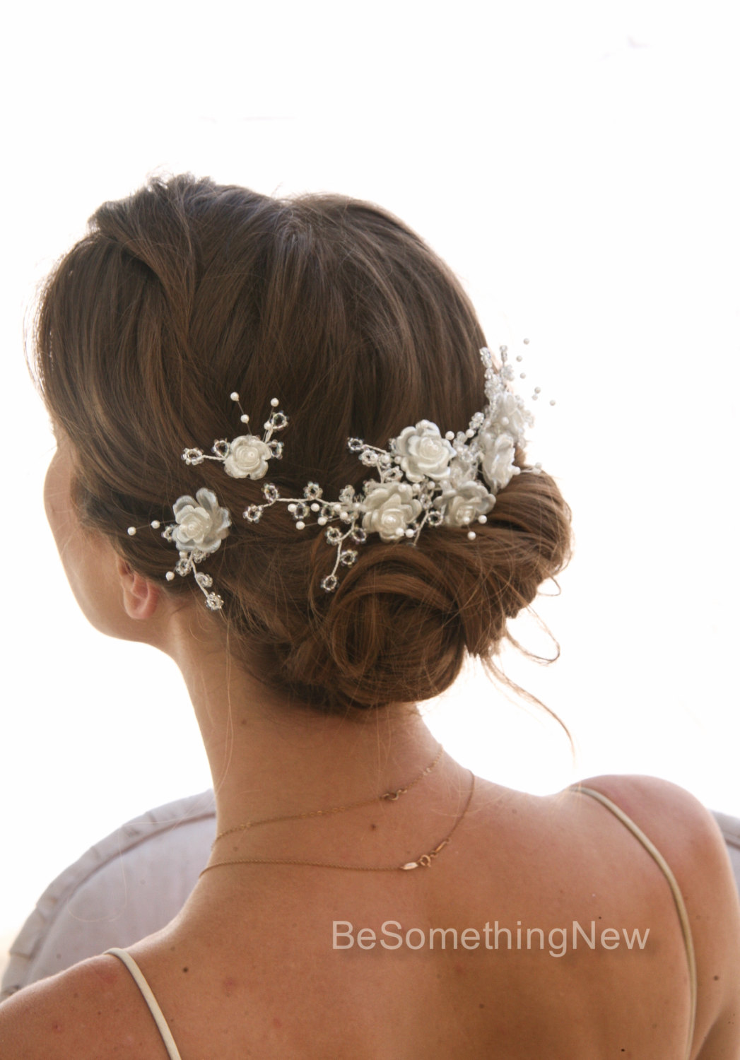 Vintage Flower And Bead Bridal Headpiece Comb Floral