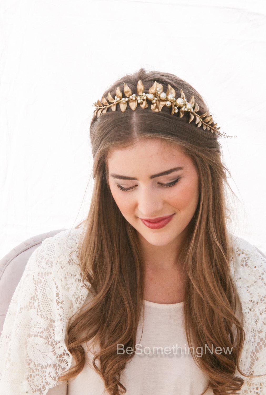 Golden Leaf And Champagne Pearl Headband Woodland Wedding