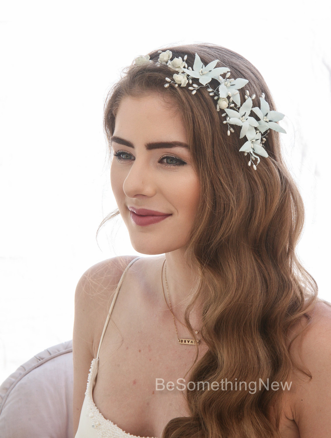 Blue Vintage Flower Crown With Pearls And Rosebuds Wired