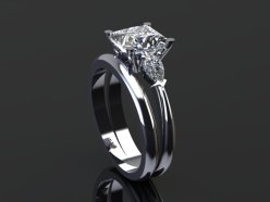 Square Diamond Ring with pear shoulders