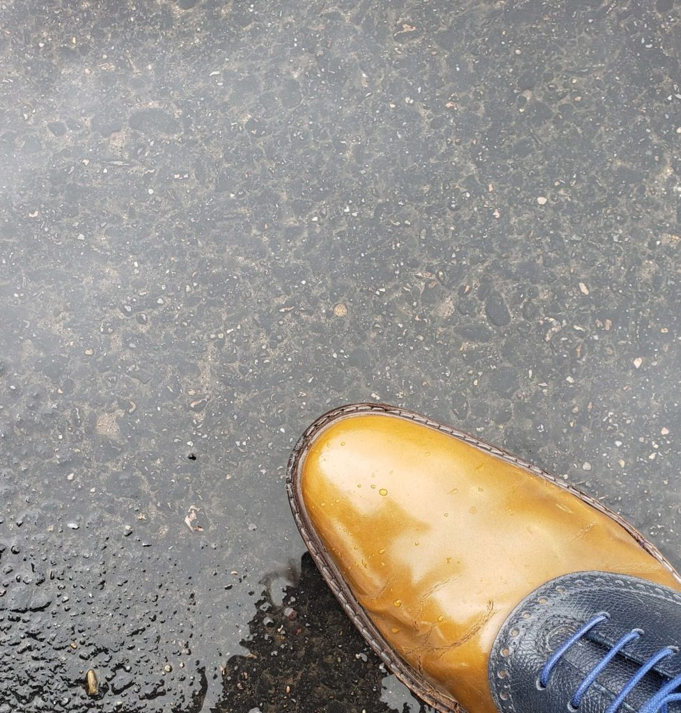 How to protect your dress shoes from the rain involves a good shine