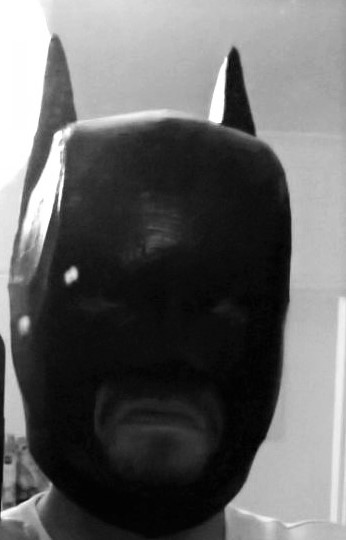 Batman mask build in progess being worn. Copyright of Bespoke Fantast Costumes 2016.