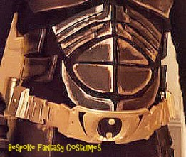 Showing the torso detail from our custom made Batman - TDK battle worn