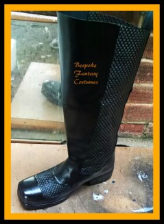 #3 Bespoke, hand-made Batman boots in progress. Made by Mr.Bespoke of Bespoke Fantasy Costumes. Photography by Bespoke Fantasy Costumes, copyright 2016.