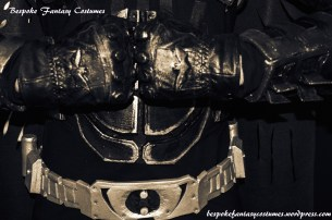 'The close-up of belt and gloves.' Batman TDK battle worn custom made look. Costume by Bespoke Fantasy Costumes. Photography and edit by Rose-Sky Journey Pieces. Copyright 2016.
