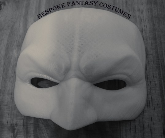 3D printed Batman mask. Printed by Bespoke Fantasy Costumes. Photographed by Rose-Sky Journey Pieces. January 2017.