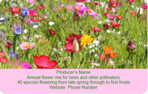 Label for wild flower mix