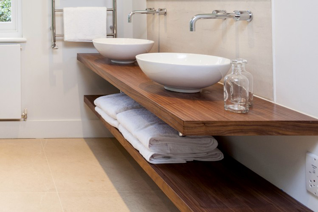 Floating Wooden Countertop For Bathroom