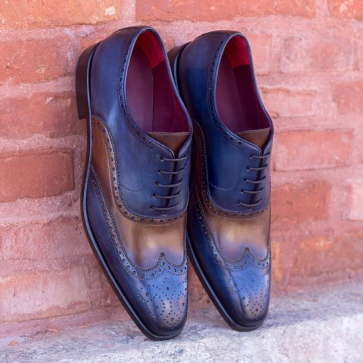 duo-toned patina painted wingtip brogues