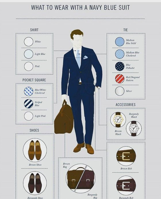 what to wear with a navy suit