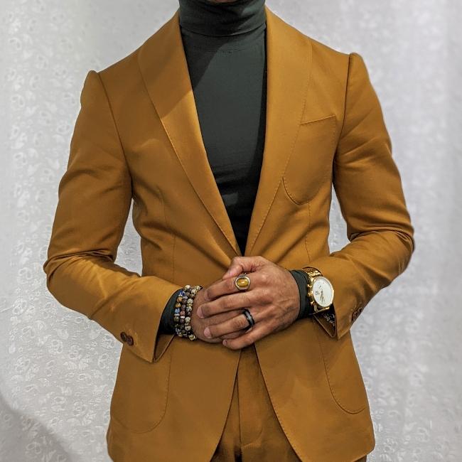 burnt orange cotton suit