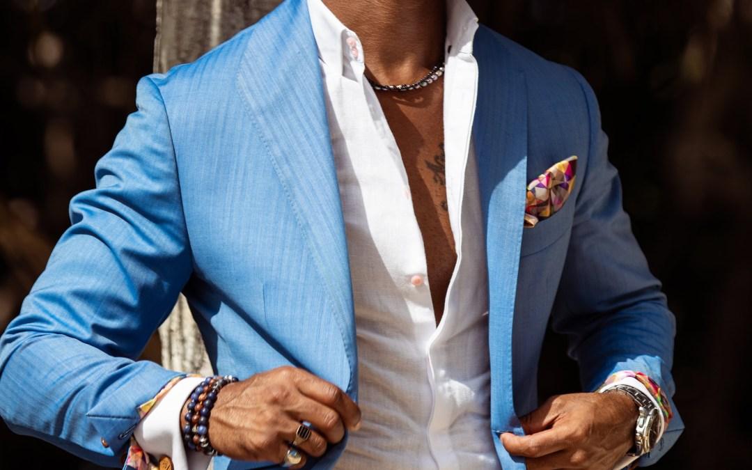Custom Light Blue Herringbone Summer Suit