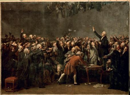 Des Roms signant un contrat de balayeur avec la ville de paris (Couder, 1873)